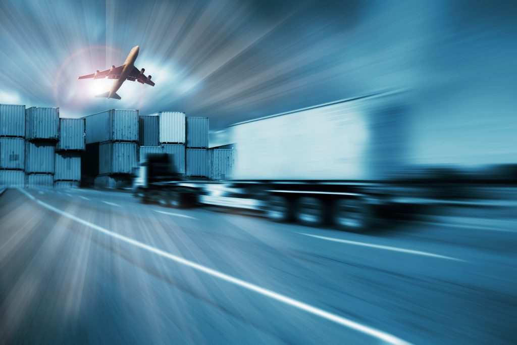 container truck , freight cargo plane in transport and import-export commercial logistic ,shipping business industry